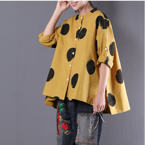 Loose Dots Stand Collar Long Sleeve Linen Yellow Shirt - Buykud
