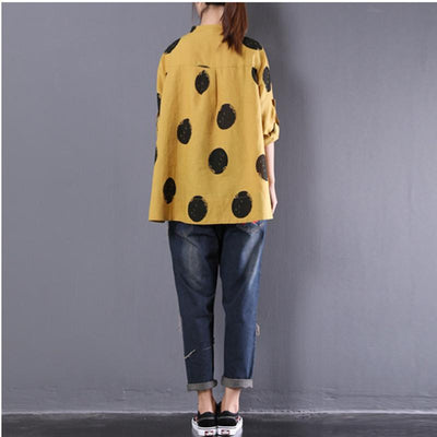 Loose Dots Stand Collar Long Sleeve Linen Shirt