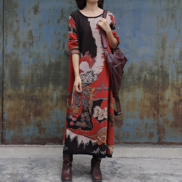 Yarn-dyed Jacquard Loose Knit Dress