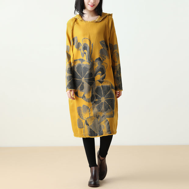 Yellow Casual Print Hooded Dress Autumn