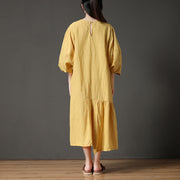 Yellow Cotton Linen Loose Irregular Hem Long Dress