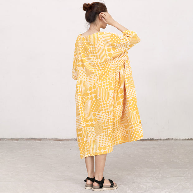 Yellow Cotton Short Sleeves Summer Casual Pleated Dress