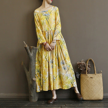 Yellow Flower Print Folk Style Long Dress