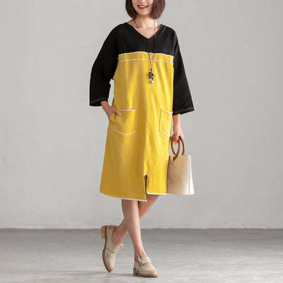 Yellow Women Cotton Autumn Holes Dress