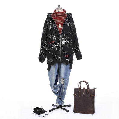 Zipper Hoodie And Loose Jeans Autumn Look