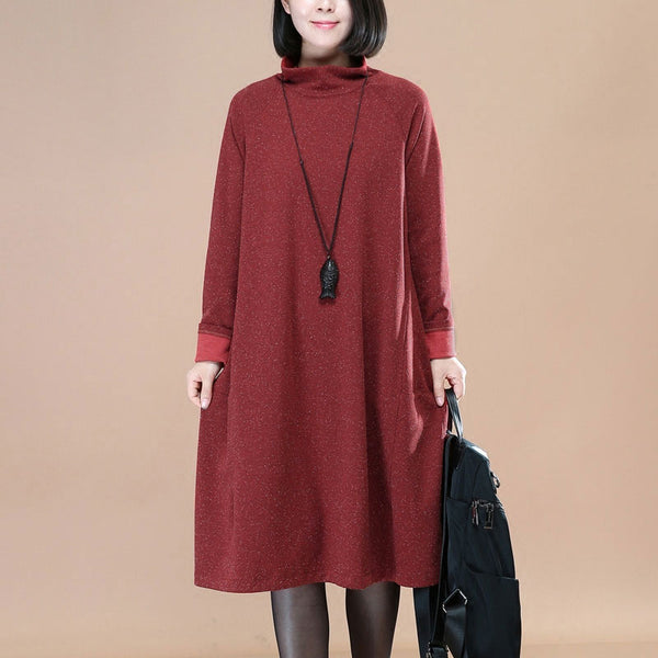 Turtleneck Loose Autumn Women Red Dress - Buykud
