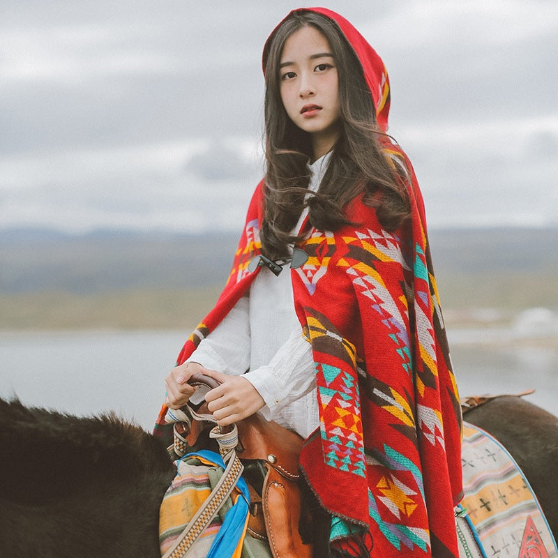 Buykud Autumn Winter Warm Printed Scarf Hooded Cloak
