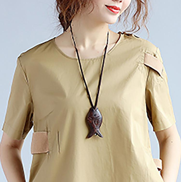 Cotton Women Splicing Short Sleeves Khaki Dress