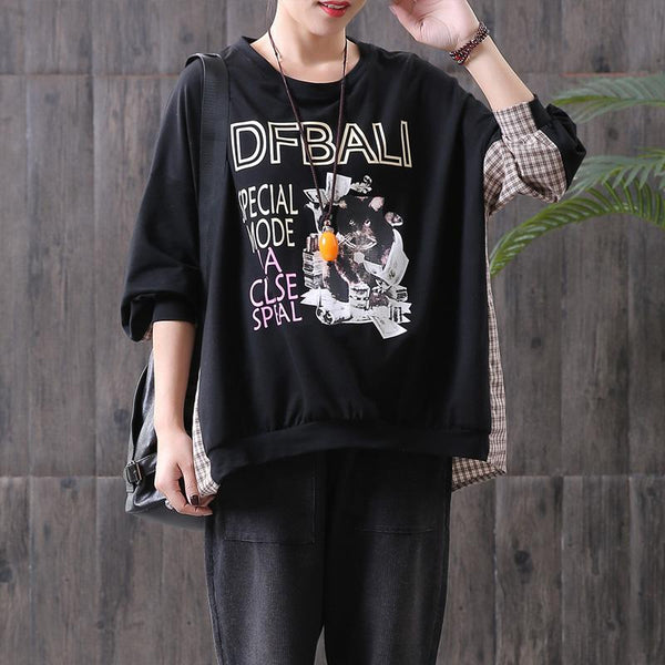 Casual Cartoon Letter Round Neck Pullover Sweatshirt