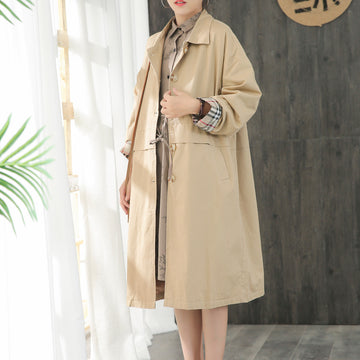Buykud Casual Elegants Pure Color Loose Trench Coat