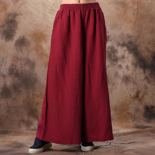 Casual Linen Solid Wide Leg Pants