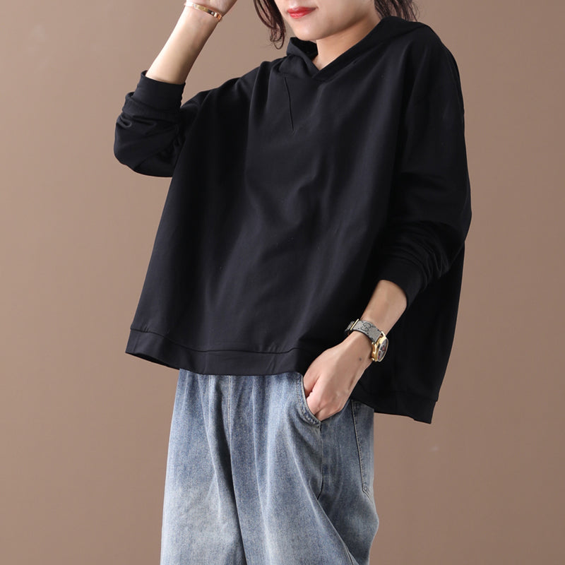 Plus Size - Buykud Solid Color Casual Hooded Blouse
