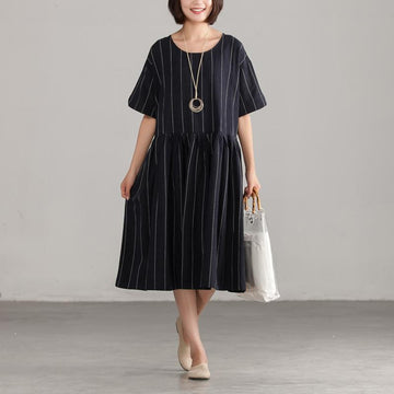 Plus Size - Black Stripe Short Sleeve Summer Dress