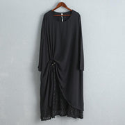 Elegant Women Black Loose Dress With Lace Lining