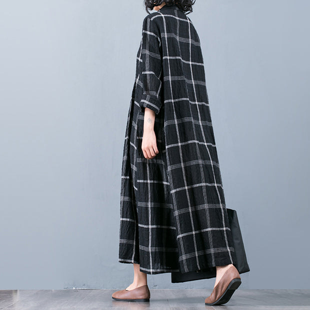 Buykud Plaid Folded Single Breasted Loose Coat
