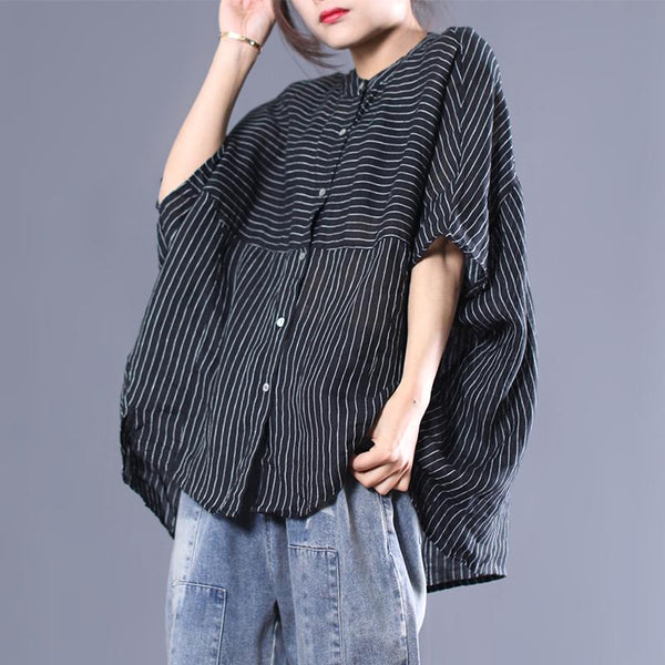 Cotton Linen Striped Batwing Sleeve Blouse