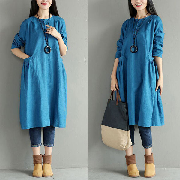 Round Neck Pocket Women Blue Dress