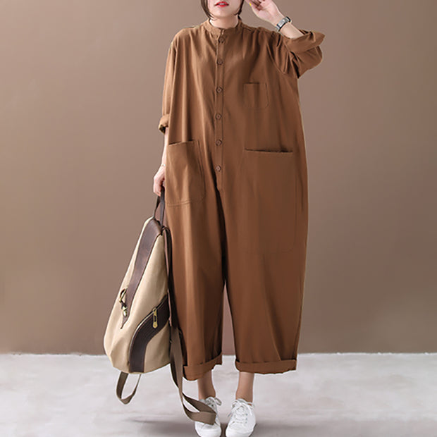 Buykud Solid Color Simple Casual Ultra-loose Rompers