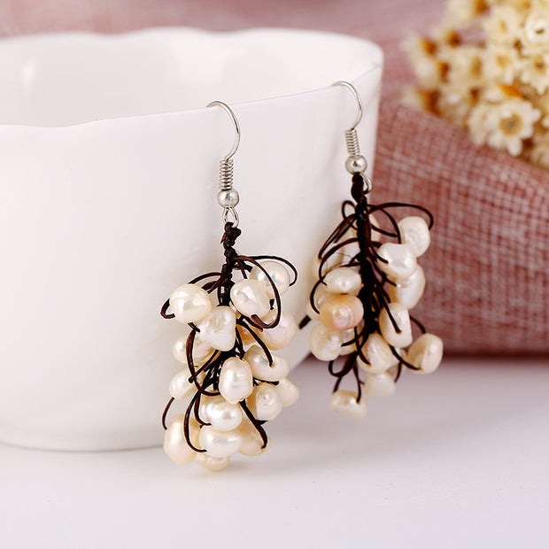 Buykud Fashion Natural Pearl String Earrings
