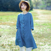 Cotton Vintage Loose Long Sleeve Plus Size Blouse