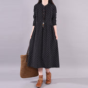 Buykud Casual Embroidery Long Sleeve Loose Dress