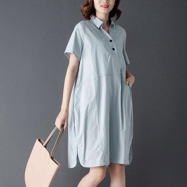 Casual Polo Collar Short Sleeve Knee Length Blue Dress