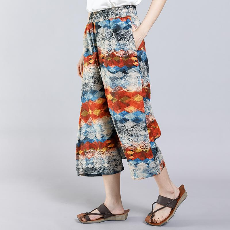 Casual Pattern Printed Women Cross Pants