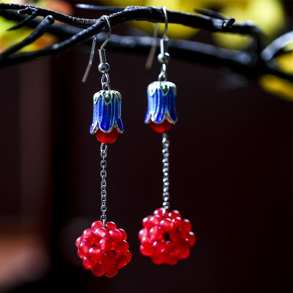 Exquisite Cloisonne Weave Grape Ball Drop Earrings