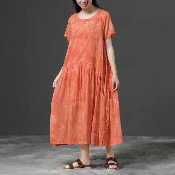 Cotton Orange Loose Casual Long Dress