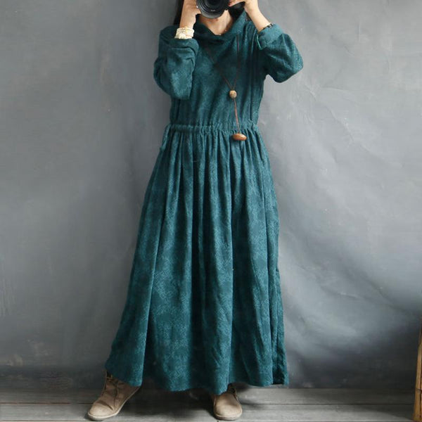 Cotton Linen Turtleneck Solid Retro Dress
