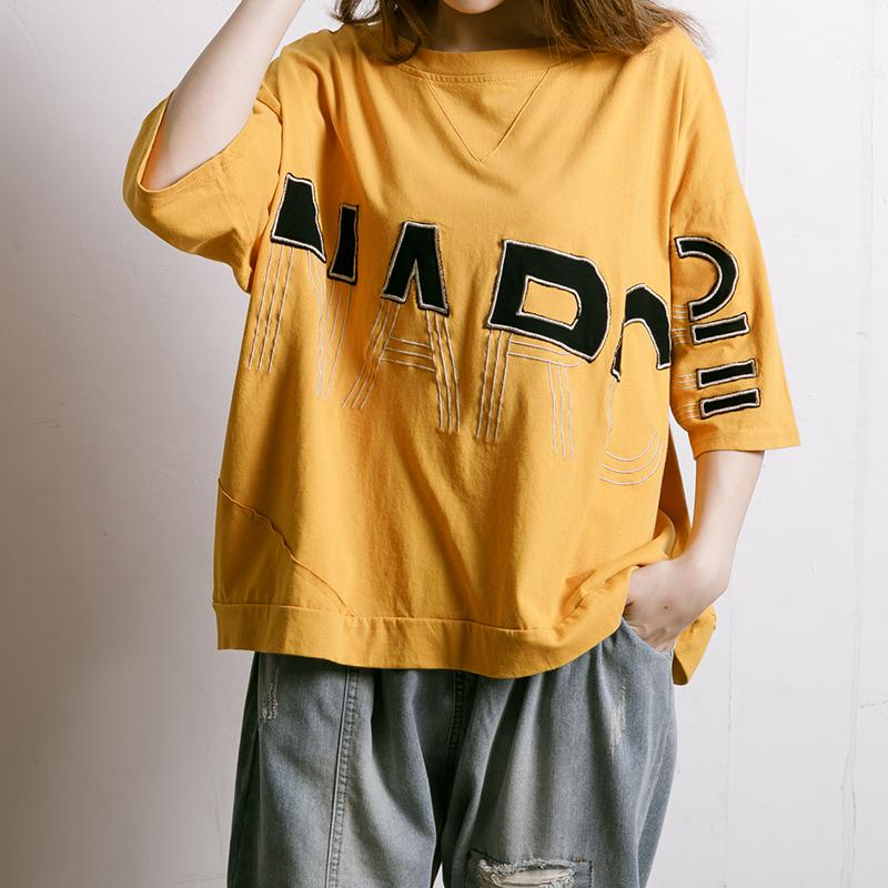 Embroidered And Half-Applique Letters T-Shirt