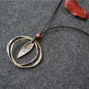 Ethnic Alloy Leaf Long Necklace Circle Pendant
