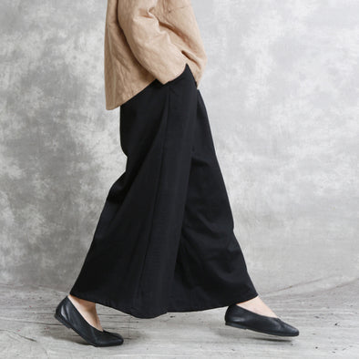Black Women Cotton Ankle Wide Leg Pants