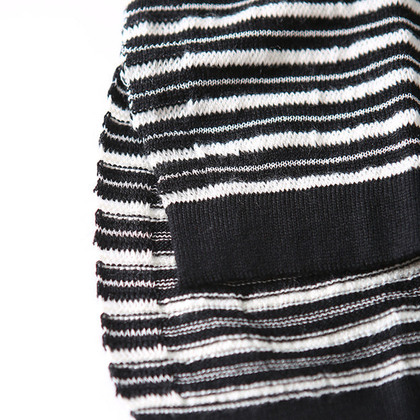 Autumn Casual Cotton Polyester Striped Top Pullover Long Sleeve Sweater
