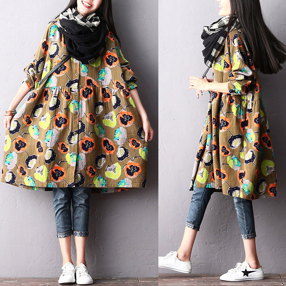 Autumn Casual Cotton Linen Print Loose Dress