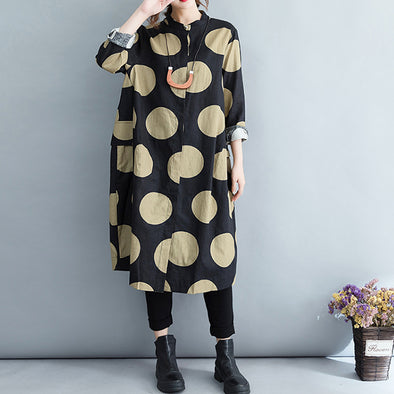 Black Dot Women Loose Ankle-length Dress