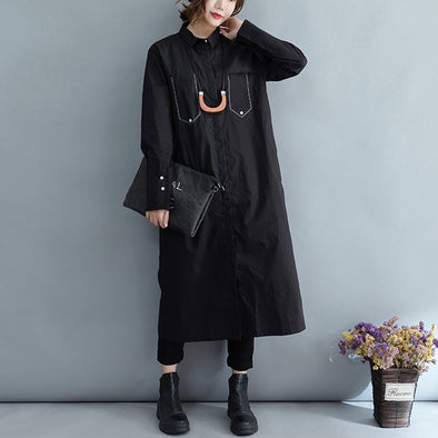 Autumn Casual Cotton Solid Straight Long Sleeve Dress