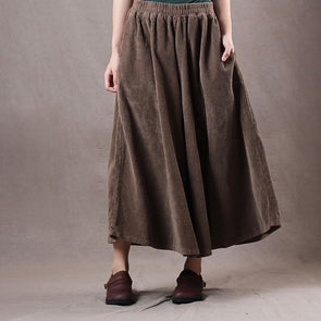 Autumn Vintage Corduroy Solid Casual Wide Leg Pants