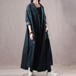 Autumn Burrs Casual Denim Solid Irregular Long Coat