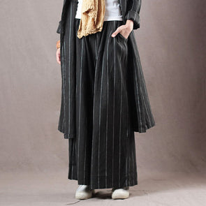 Casual Linen Stripe Wide Leg Casual Ankle Pants