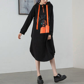 Black Print Funny Women Black Casual Hooded Dress