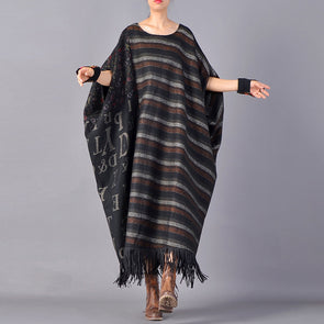 Tassel Letter Baggy Loose Robe Women Dress