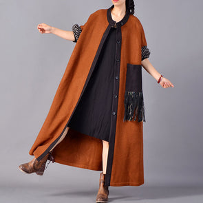 Wool Blend Fashion Women Tassel Long Coat