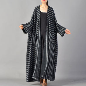 Women Autumn Stripe Black Loose Wool Cloak Coat