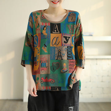 Cartoon Print 3/4 Sleeve Knitted Cotton Shirt