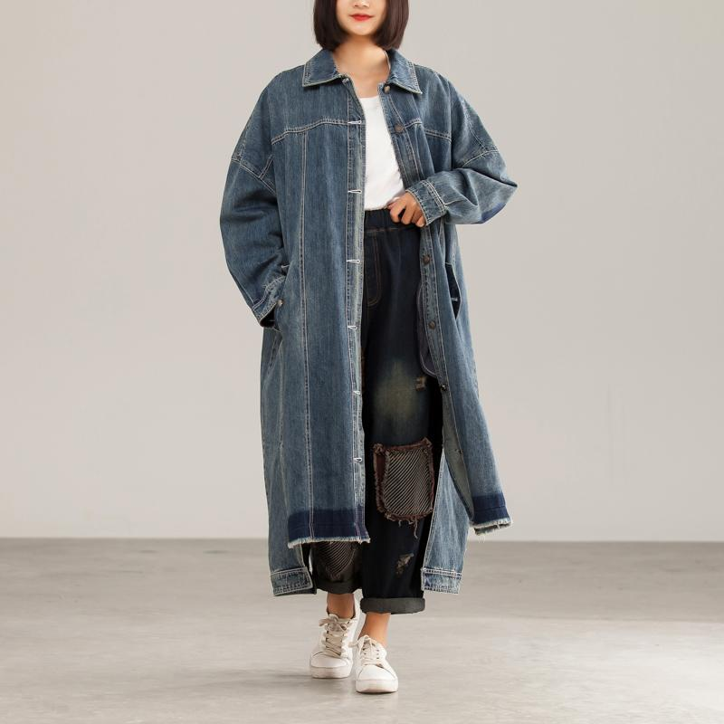 Denim Character Loose Burrs BF Style Slit Coat