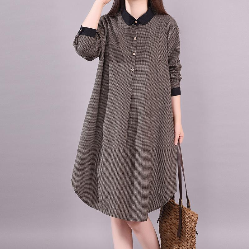 Casual Long Sleeve Plaid Plus Size Women Dress