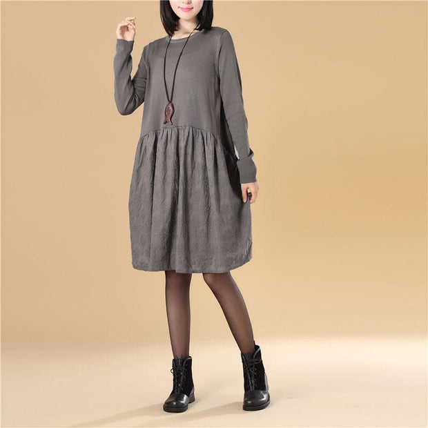 Embroidered Women Long Sleeve Folded Splicing Gray Sweater Dress