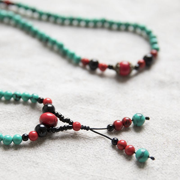 Ethnic Carnelian Bead Vintage Long Chain Lucky Green Women Necklace