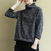 Buykud Turtleneck Printed Casual Loose Comfortable Shirt